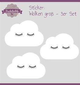 Sticker White Clouds Eyes Big - 3 piece set