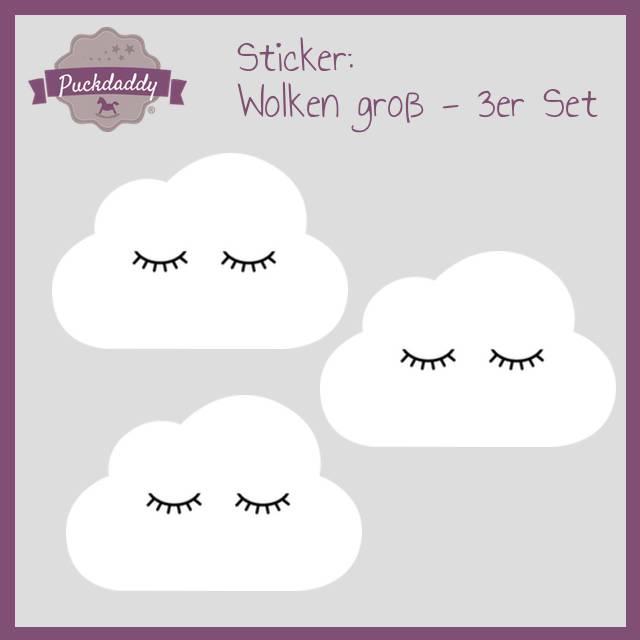 Sticker weiße Wolken Augen groß - 3er Set