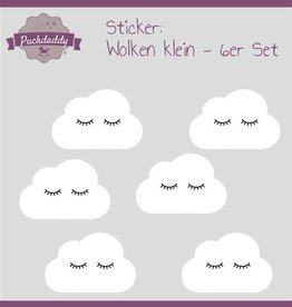 Sticker white clouds eyes small - 6 pieces