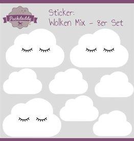 Puckdaddy Sticker Mix Wolken Augen weiß - 8er Set