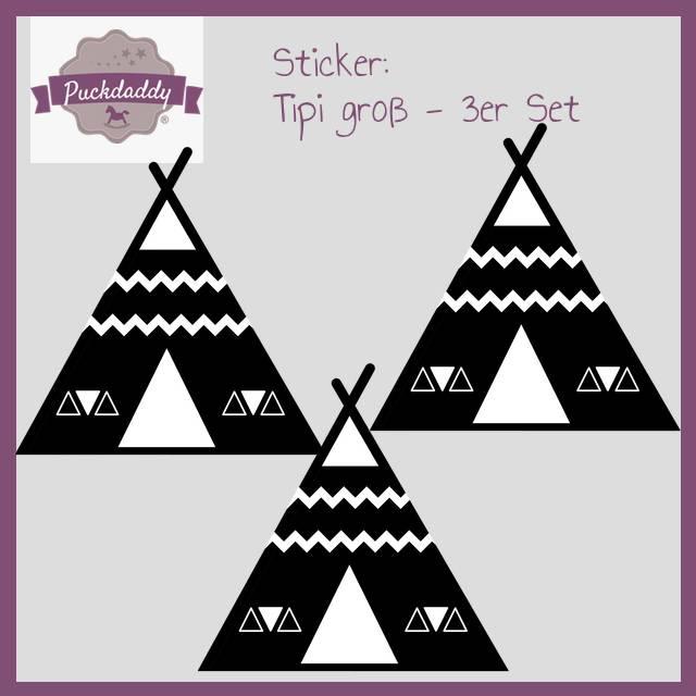 Sticker Tipi schwarz groß - 3er Set