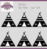 Sticker tipi black small - 6 piece set