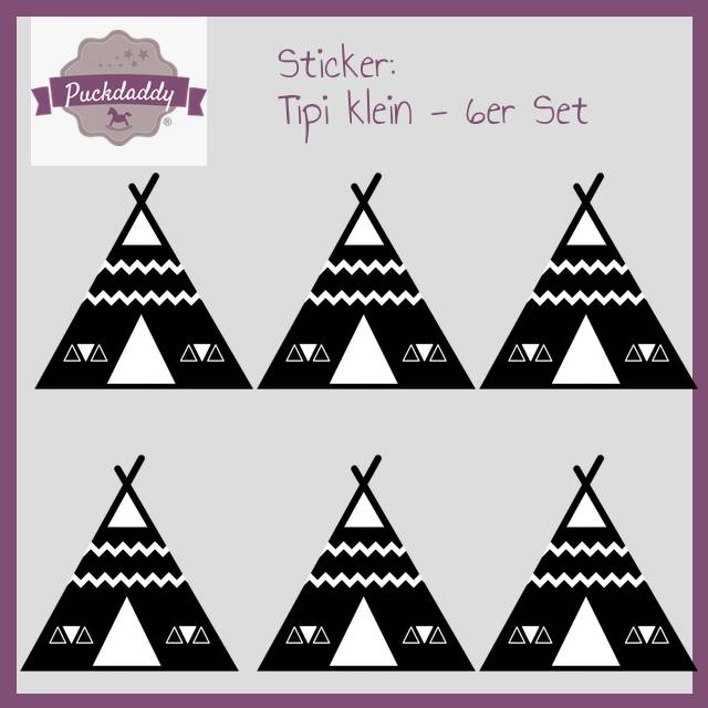 Sticker Tipi schwarz klein - 6er Set