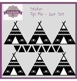 Sticker tipi mix black - 16 piece set