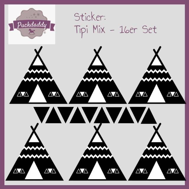 Sticker Tipi Mix schwarz - 16er Set