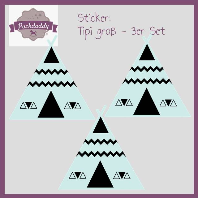 Sticker Tipi mint groß - 3er Set