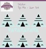Sticker  Mix Tipi & Dreiecke mint klein - 16er Set