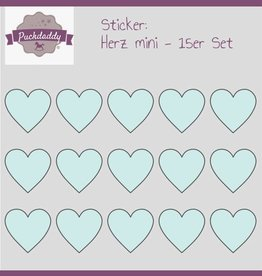 Sticker Herzen mint mini - 15er Set
