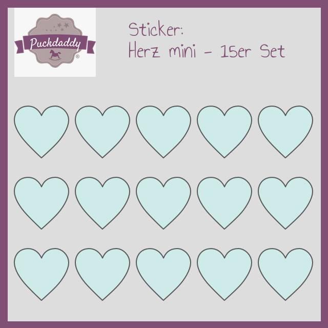 Sticker Herzen mint mini - 15er Set