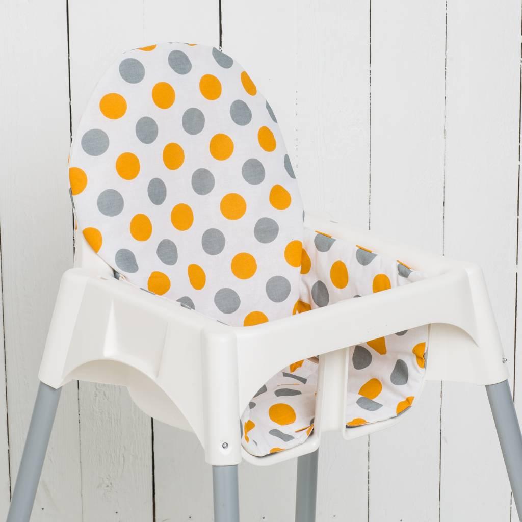 sitzkissen punkte orange f r ikea antilop hochstuhl puckdaddy. Black Bedroom Furniture Sets. Home Design Ideas