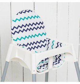 "Highchair cushion ""chevron blue/petrol"""