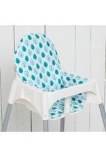 """Highchair cushion """"leaf petrol""""  for IKEA Antilop"""