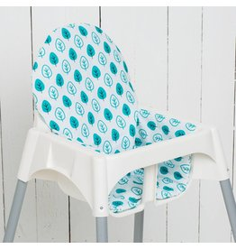 "Highchair cushion ""leaf petrol"""