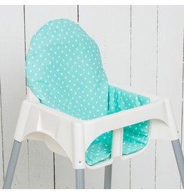 "Highchair cushion ""dots/ stars mint green"""