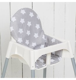 "Highchair Cushion ""stars/ little dots grey"""