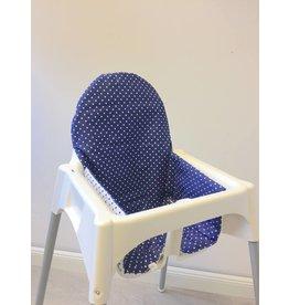 """Coussin pour chaise haute """"point bleu"""""""