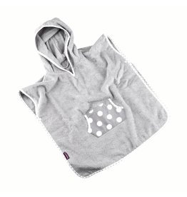 """Badeponcho """"Punkte Grau"""", mit Kapuze und Tasche in grau"""