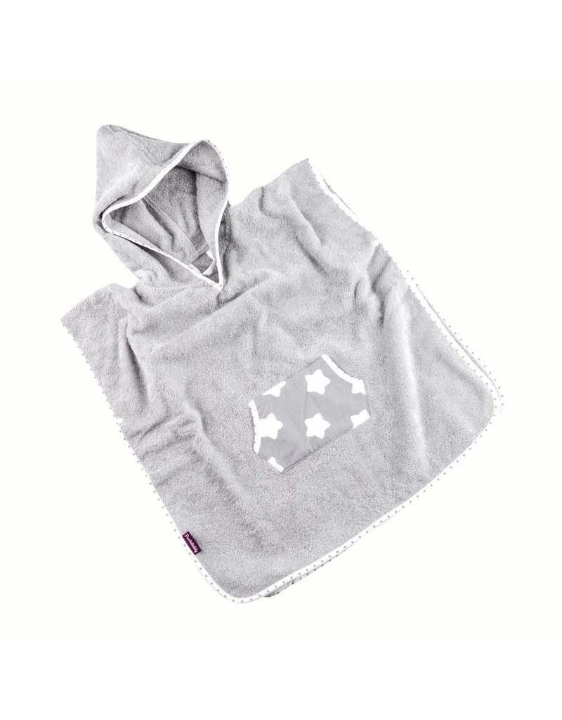 "Hooded Towel Poncho ""Stars Grey"""