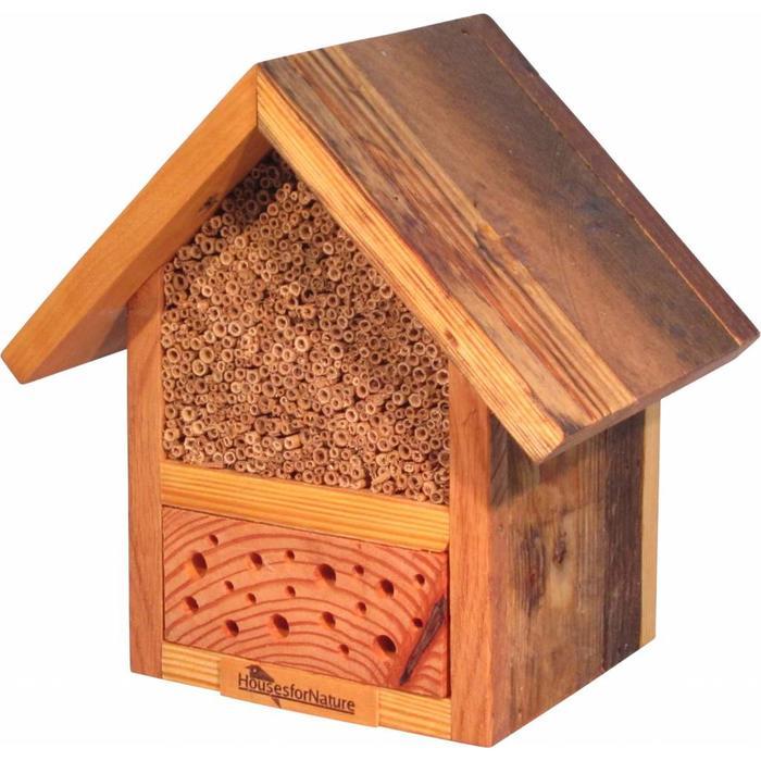 Insectenhotel voor wilde bijen, gerecycled hout