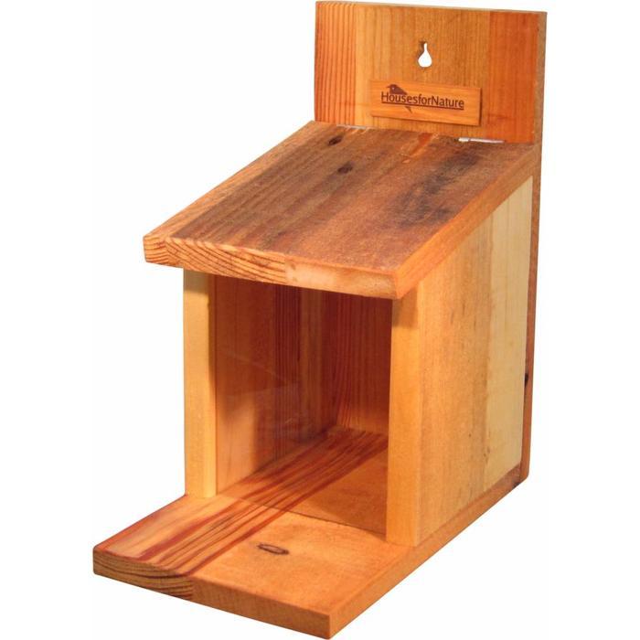 Eekhoorn voederhuis, gerecycled hout