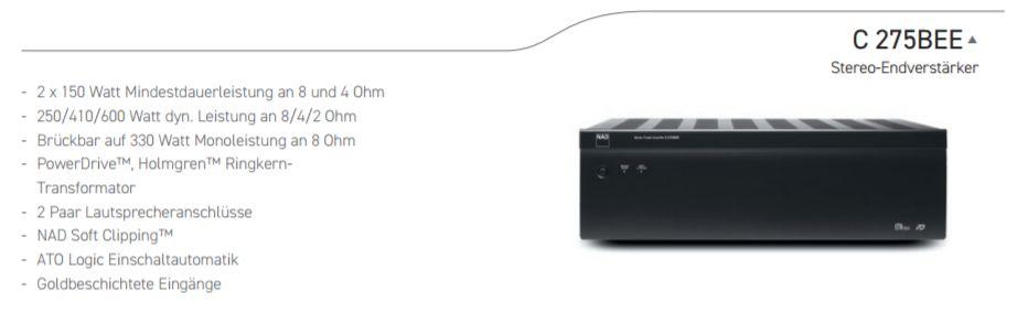 NAD C 275BEE Stereo Endverstärker