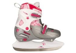 Nijdam 3020 Junior Kunstschaats Verstelbaar Hardboot Grijs-Roze Schaatsen Kids