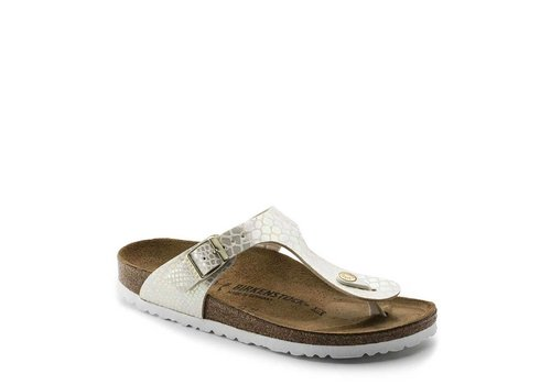 Birkenstock Gizeh Shiny Snake Cream Slippers Dames