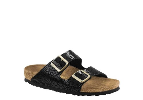 Birkenstock Arizona Shiny Snake Black Slippers Dames