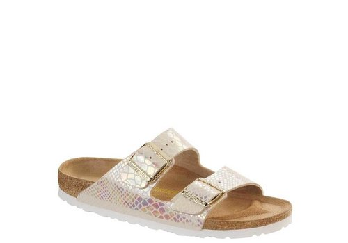 Birkenstock Arizona Shiny Snake Cream Slippers Dames