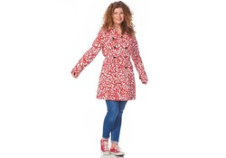 Happy Rainy Days Trenchcoat Reva Leaff Off White/Red Regenjas Dames