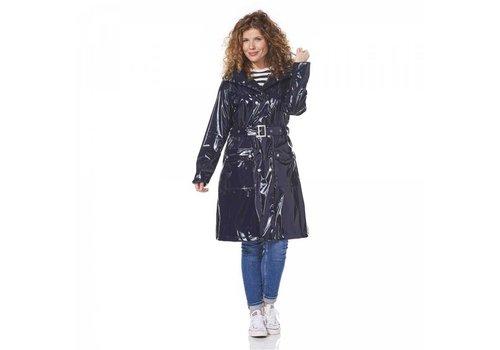 Happy Rainy Days Long Rain Mac Nina Navy Regenjas Dames