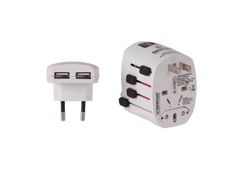 Skross World Adapter Pro USB + Charger Wit Reisstekkers