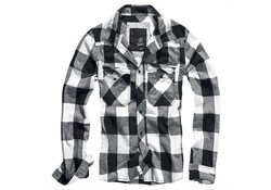 Brandit Checkshirt White-Black Overhemd Heren