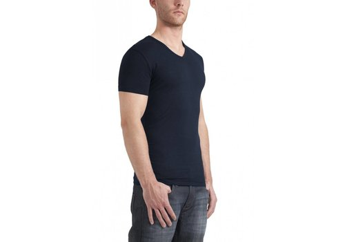 Garage Bodyfit V-Neck T-Shirt Navy Heren