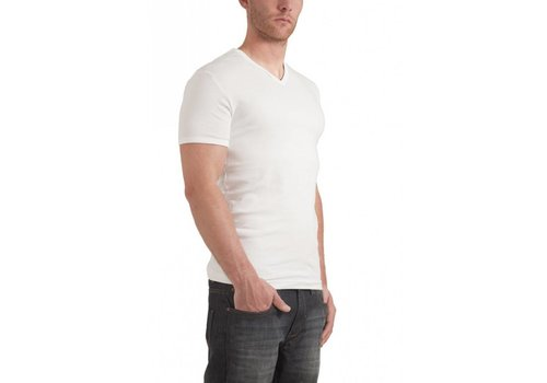 Garage Semi Bodyfit V-Neck T-Shirt Wit Heren