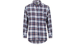 Life Line Anton Flanel Shirt Navy/Orange Check Heren