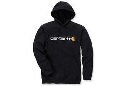 Carhartt Signature Logo Hooded Sweatshirt Black Heren