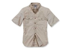 Carhartt Fort Solid Short Sleeve Dark Tan Chambray Shirt Heren