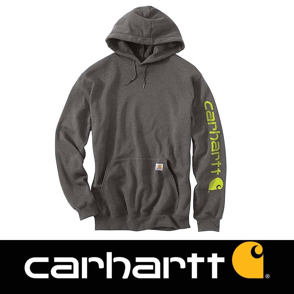 Carhartt Midweight Sleeve Logo Hooded Sweatshirt Carbon Heather Heren Size : M