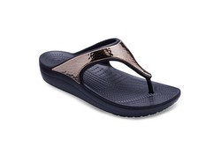 Crocs Sloane Hammered Metallic Flip Black Rose Gold Slippers Dames