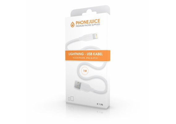 PhoneJuice Lightning kabel 1m - Wit