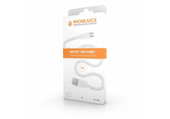 PhoneJuice Micro USB kabel 1m - Wit