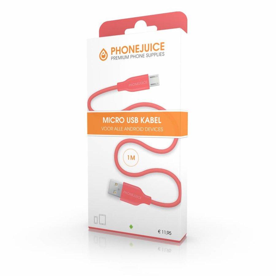1 meter lange micro USB kabel – Roze