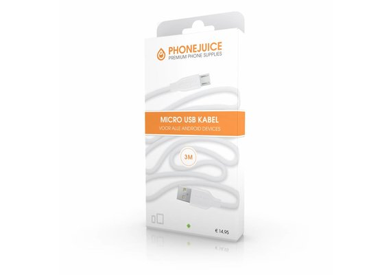 PhoneJuice Micro USB kabel 3m - Wit