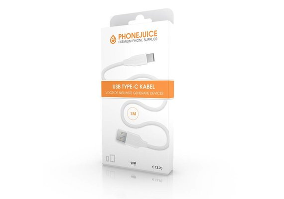 PhoneJuice USB C kabel 1m - Wit