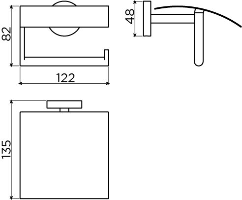 Flat toilet paper holder with lid