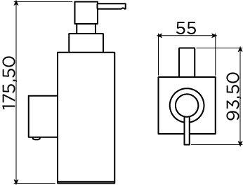 Quadria zeepdispenser 200cc, wandhangend