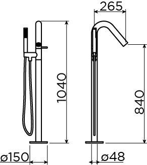 Xo mitigeur pour baignoire en îlot type 8