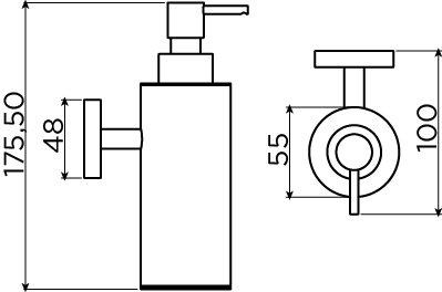 Sjokker soap dispenser 200cc, wall mounted