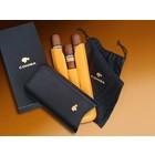 Cohiba Zigarrenetui COHIBA für 3 Zigarren - Material- LEDER, Farbe- SCHWARZ-GELB